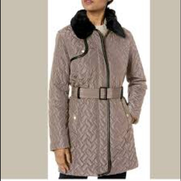 Cole Haan Removable Faux Fur Trim Quilted Coat XS